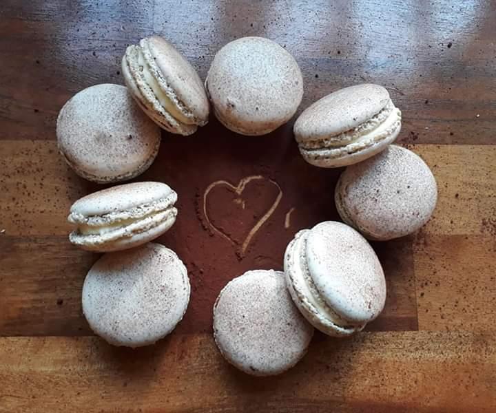 ring photo of coffee macarons